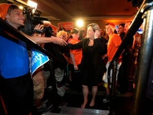 Horwath meets her supporters