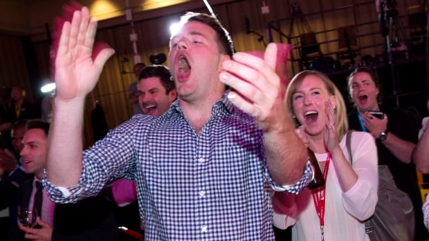 Liberal supporters celebrate while watching the results of the Ontario Provincial Election on a television at the Liberal party's election night headquarters in Toronto on Thursday, June 12, 2014.