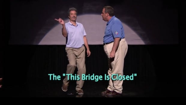 """Jimmy Fallon and New Jersey Governor Chris Christie entertained on the Tonight Show Starring Jimmy Fallon on Thursday night with a dance duo called """"the evolution of dad dancing."""""""