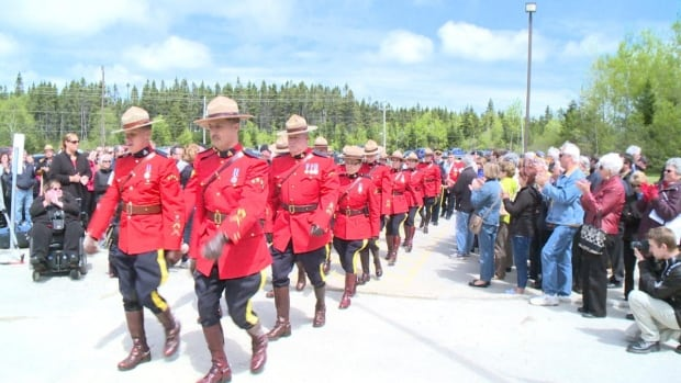 Members of the RCMP and the general public attended a memorial in Gander on Thursday to honour the officers slain in the Moncton shootings last week.