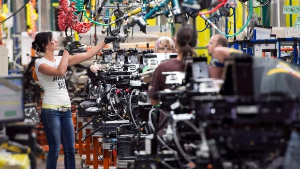 Employees work on the Spyder assembly line at Bombardier Recreational Products  in Valcourt, Quebec. New factory orders were up in April, though sales slipped slightly, Statistics Canada reported.