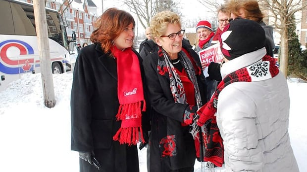 Eleanor McMahon and Kathleen Wynne campaign in Burlington earlier this year. McMahon is the first non-Conservative MPP in Burlington in 71 years.