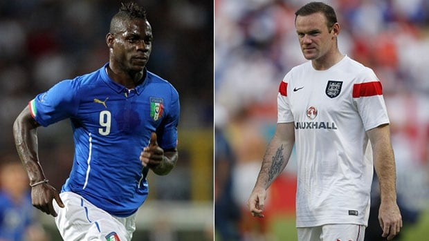 All eyes will be on Italy's Mario Balotelli, left, and Wayne Rooney of England when the two nations square off on Saturday.