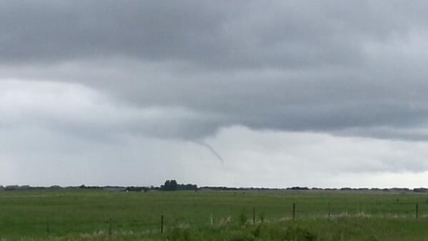 Twitter user Mike Bott says he snapped this photo of a possible funnel cloud south of Southey, Sask. close to 12:30 CST Sunday.