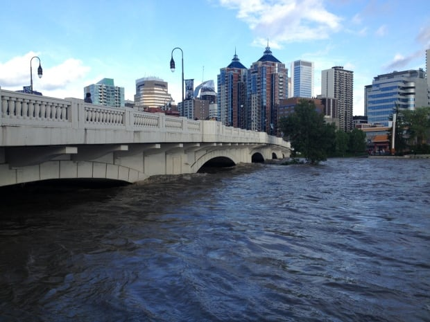 Downtown Calgary during flood