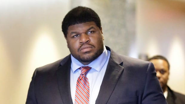 Former Dallas Cowboys NFL football player Josh Brent is shown on  Jan. 21, 2014, during his trial.