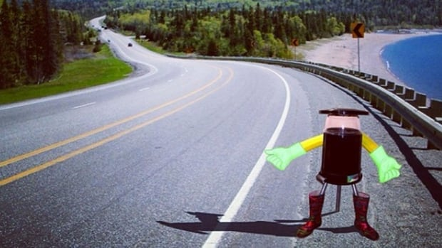 HitchBOT, seen in an artist's conception, is being built by communications researchers at Ryerson University in Toronto and McMaster University in Hamilton. It will try to hitch its first ride from the Nova Scotia College of Art and Design on July 27.
