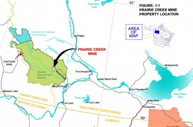 Canadian Zinc's Prairie Creek Mine road