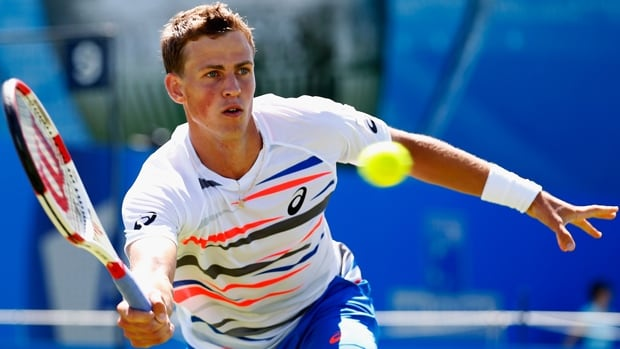 Vasek Pospisil of Vernon, B.C., was a 6-4, 7-5 victor over Dusan Lajovic in the first round of the Topshelf Open on Monday.