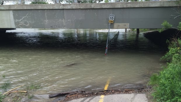 A pathway under Macleod Trail, near the Talisman Centre. The city said Monday many pathways along the Elbow River have been closed due to rising water.