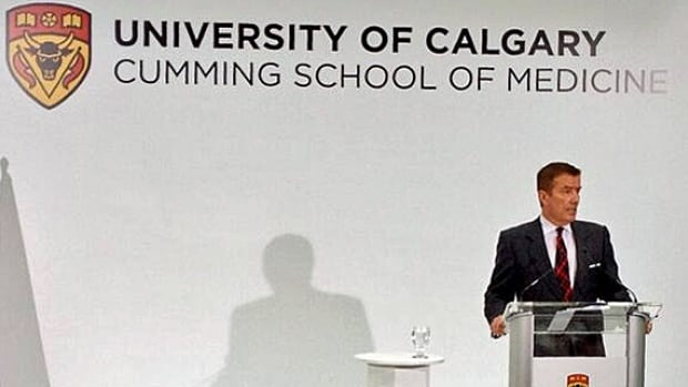 Donor Geoffrey Cumming speaks during the announcement Tuesday on renaming the University of Calgary's medical school after him.