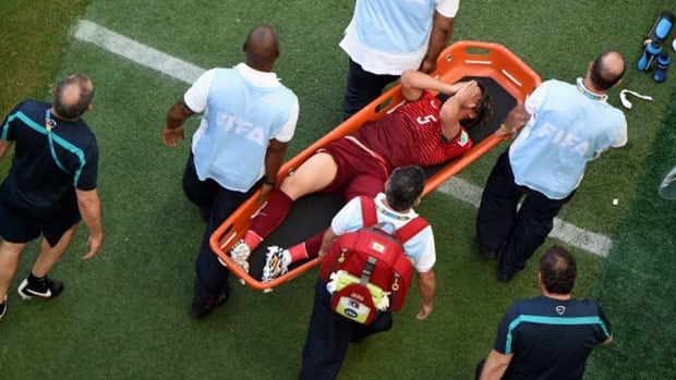 Portugal left back Fabio Coentrao (5) was taken off during the second half of Monday's 4-0 defeat by Germany after suffering a thigh muscle injury and will miss the rest of the World Cup.