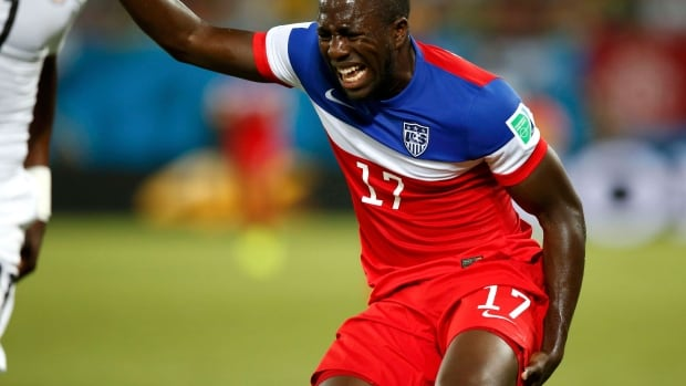 Jozy Altidore of the U.S. grimaces after sustaining an injury during their opening Group G match against Ghana at the FIFA World Cup in Natal on Monday.