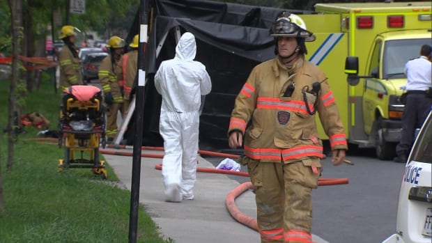 Some emergency workers had to undergo decontamination after responding to a call at École des Cinq-Continents in Côte-des-Neiges late Tuesday afternoon.