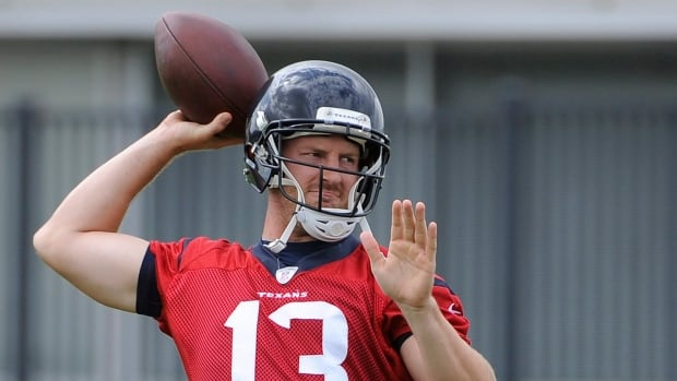 Houston Texans quarterback T.J. Yates, seen on Monday, found himself the odd man out on the team's depth chart.