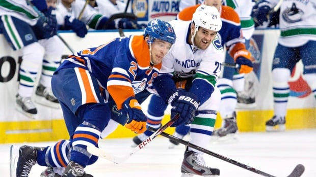 Edmonton captain Andrew Ference batttles for the puck during a January game.