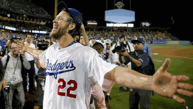 Dodgers starting pitcher Clayton Kershaw celebrates his no-hitter against Colorado on Wednesday night Los Angeles. Kershaw struck out a career-high 15 batters for his first career no-hitter.