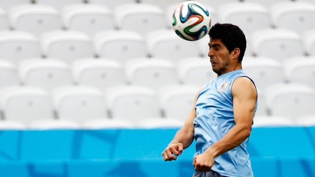 Luis Suarez will be in the starting lineup for Uruguay in its match against England, Thursday at the FIFA World Cup in Brazil.