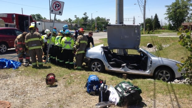 One person was left trapped after a crash in Brampton on Thursday afternoon.