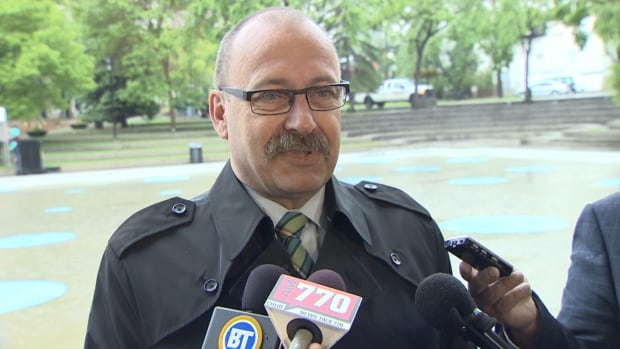 Ric McIver, PC leadership candidate, speaks to the media on Thursday to apologize following criticism of his participation in the March for Jesus.
