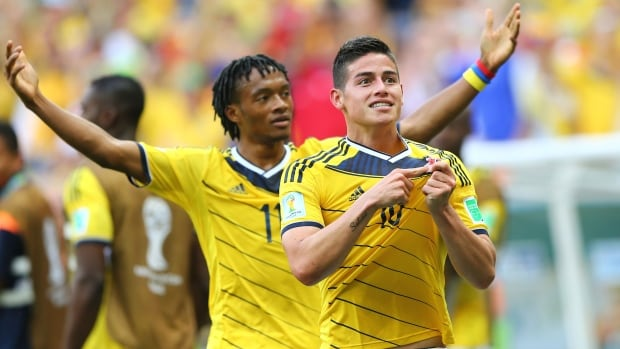 Colombia's James Rodriguez celebrates his goal in the team's match against Ivory Coast at the FIFA World Cup in Brazil.