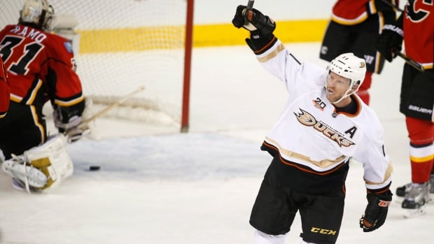 Saku Koivu celebrates a goal for Anaheim in Calgary on March 26.