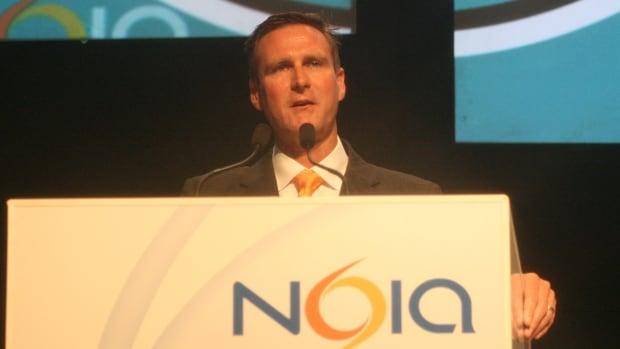 Andrew Barry, the president of ExxonMobil Canada, addresses delegates at the 2014 NOIA conference in St. John's.