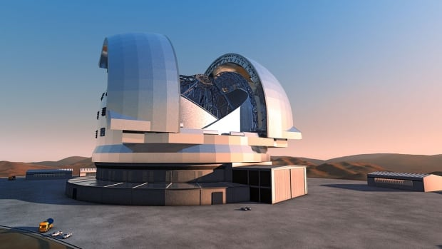 An artist's rending of the European Extremely Large Telescope atop Cerro Armazones mountain.