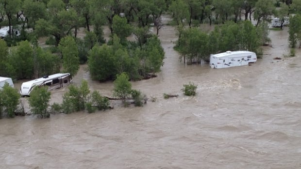 A campground on the Waterton River near the Blood Reserve was under water this week, but relief is in sight for many communities in southern Alberta as rainfall warnings end.