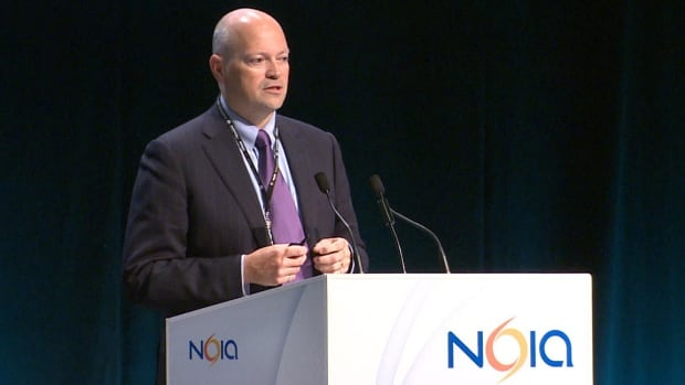 Jim Keating, vice-president of oil and gas for Nalcor Energy, addresses delegates at the 2014 NOIA convention in St. John's.