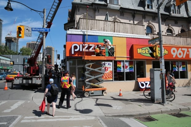 Pizza Pizza rainbow at Toronto gay village