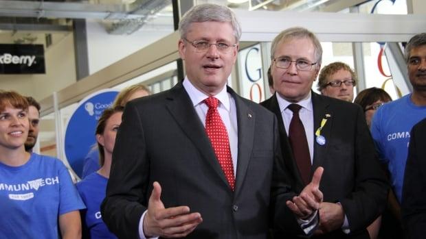 Prime Minister Stephen Harper speaks to employees at Communitech Friday in Kitchener.