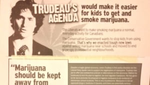 Conservative mailer says Trudeau's policies would let kids have pot
