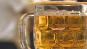 Pitcher and mugs of beer, B.C. pubs - June 21, 2014