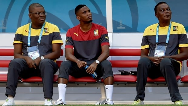 Cameroon forward Samuel Eto'o, centre, will once again be on the bench when his country faces Brazil on Monday. The team's captain is still recovering from a knee injury and has been officially ruled out.