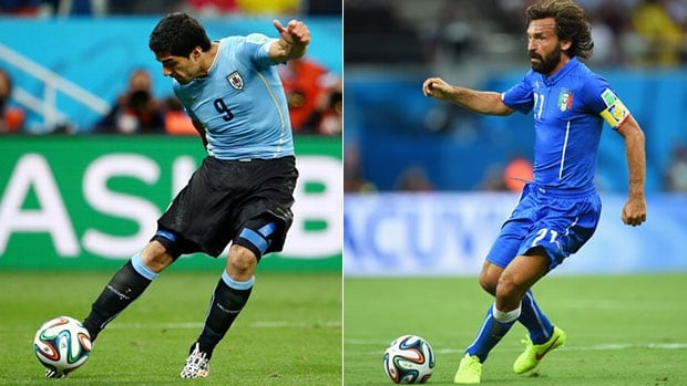 The crucial Group D matchup will feature the scoring prowess of Uruguay's Luis Suarez, left, and the deft passing tough of Italian Andrea Pirlo.