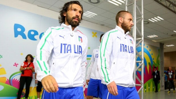 Can Andrea Pirlo, left, and teammate Daniele De Rossi lead Italy past Uruguay in Group D on Tuesday.