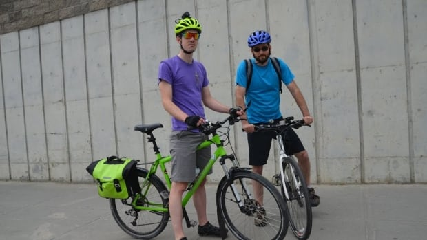 Patrick Blouin and Jamie Lamothe trek around Sudbury on their bikes, often to their peril, they say. Wearing a helmet-mounted camera and recording their rides can possible capture video evidence that can be used in court, police say.