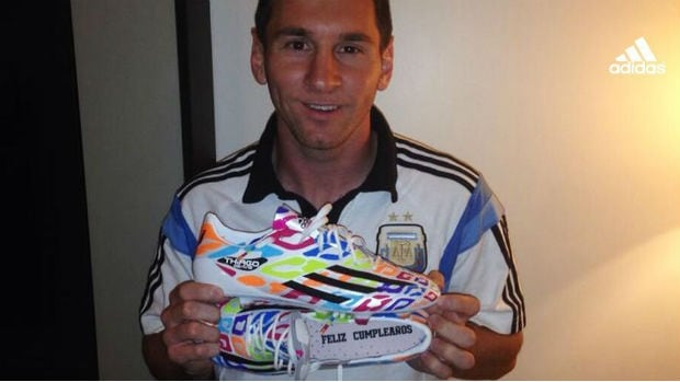 Lionel Messi got a new pair of shoes from Adidas to celebrate his 26th birthday on Tuesday.