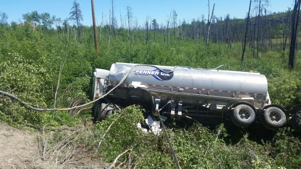 A tanker truck transporting gasoline crashed near Missinipe, Sask.