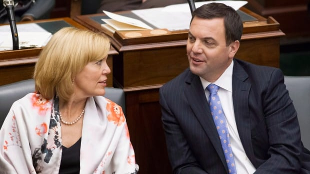 Christine Elliott, left, will announce Wednesday that she will run to replace Tim Hudak, right, as leader of the provincial Progressive Conservatives.