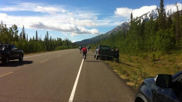 Cyclists race in the 2014 Kluane-Chilkat International bike relay from Haines Junction, Yukon, to Haines, Alaska, on Sat., June 21.