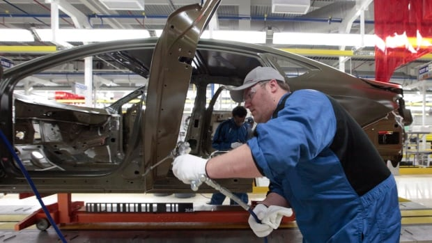 An assembly line worker works on a 2015 Chrysler 200 automobile at the Sterling Heights Assembly Plant in Sterling Heights, Mich.  The U.S. Congressional Budget Office outlook for GDP growth in 2014 is now just 1.5 per cent.