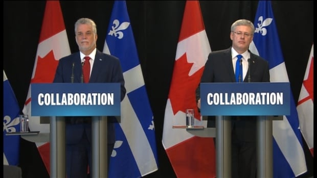 The announcement by Quebec Premier Philippe Couillard and Prime Minister Stephen Harper pledged $7.5 billion for infrastructure projects around Quebec over the next decade.