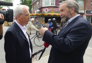 NDP Leader Tom Mulcair campaigns in Trinity-Spadina