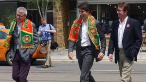 Justin Trudeau campaigns with Adam Vaughan