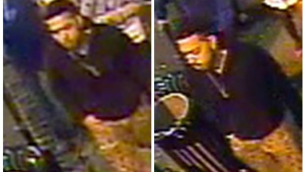 Police released these two pictures of the suspect taken from video surveillance in the area.