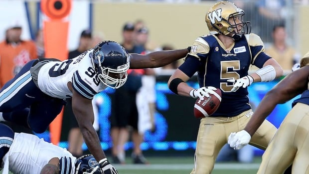 The Blue Bombers will head to Montreal along with quarterback Drew Willy, right, seen here in pre-season action against Toronto. But they'll be missing Zach Anderson.