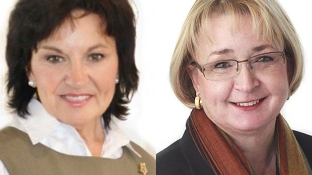 Linda Osinchuk (left) and Cathy Olesen will likely face off against each other in Sherwood Park in the next provincial election.