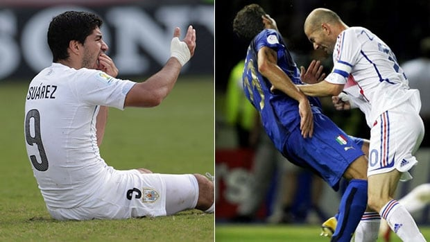Uruguay's Luis Suarez, left, and Zinedine Zidane of Franche are two notable players whose wild antics earned them a place in the World Cup Hall of Shame.
